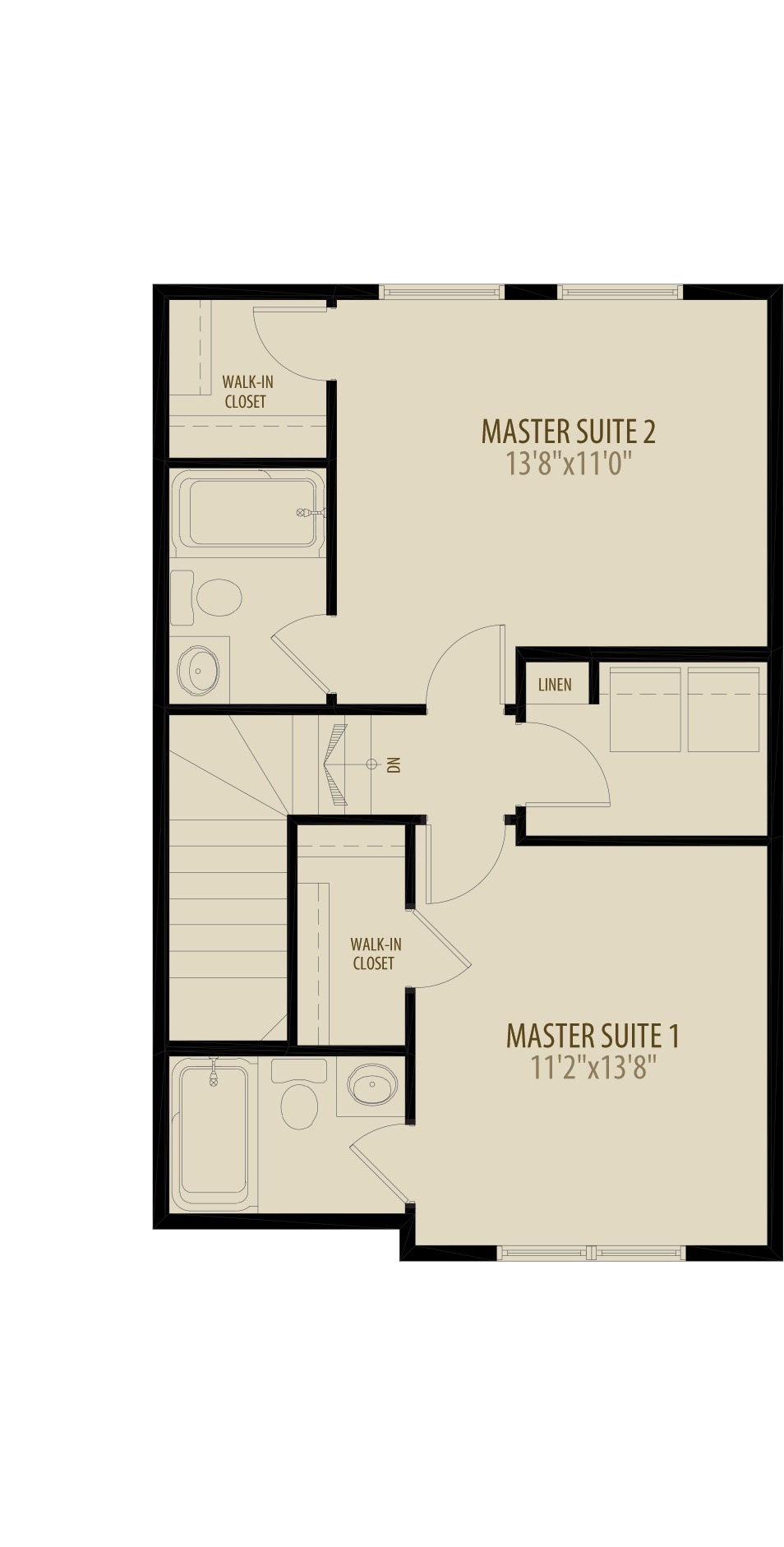 Dual Master Suites With Laundry Adds 20Sq Ft