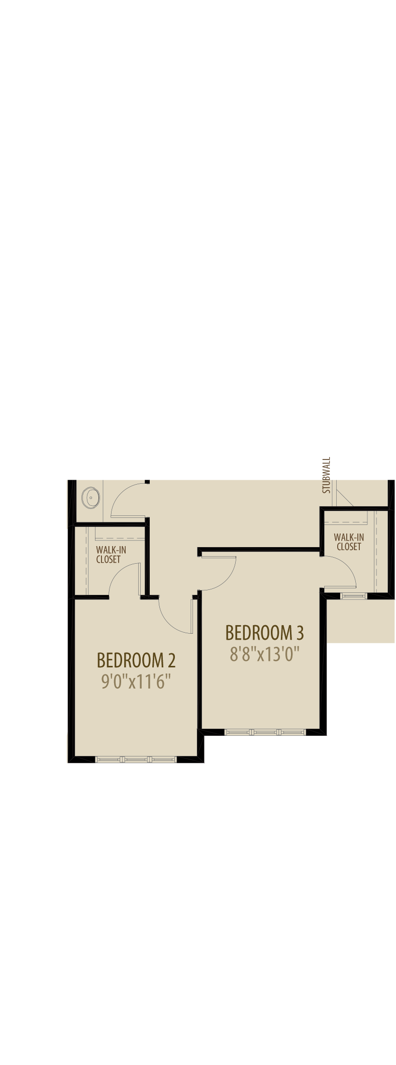 Option 3 Extended Upper Floorplan adds 57sq ft