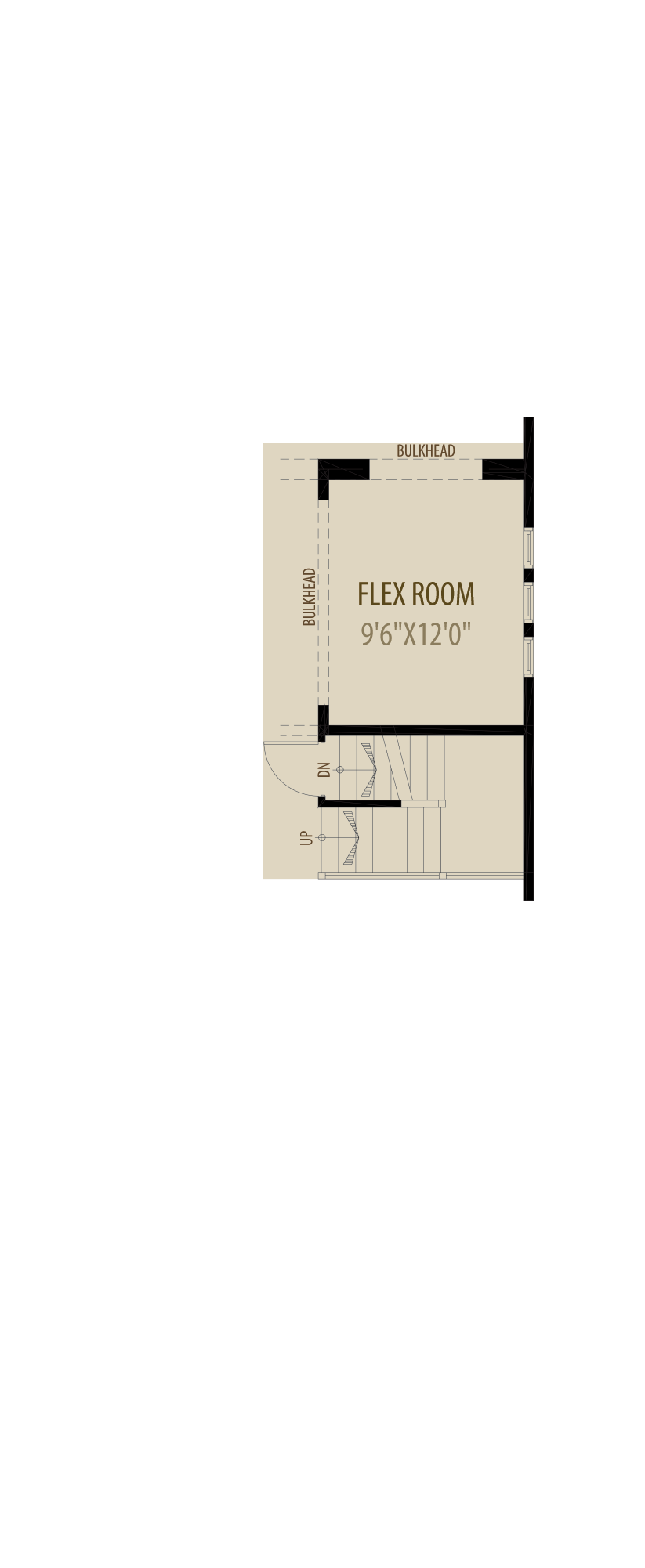 Flex Room adds 120 sq ft to Main removes 5 sq ft from Upper
