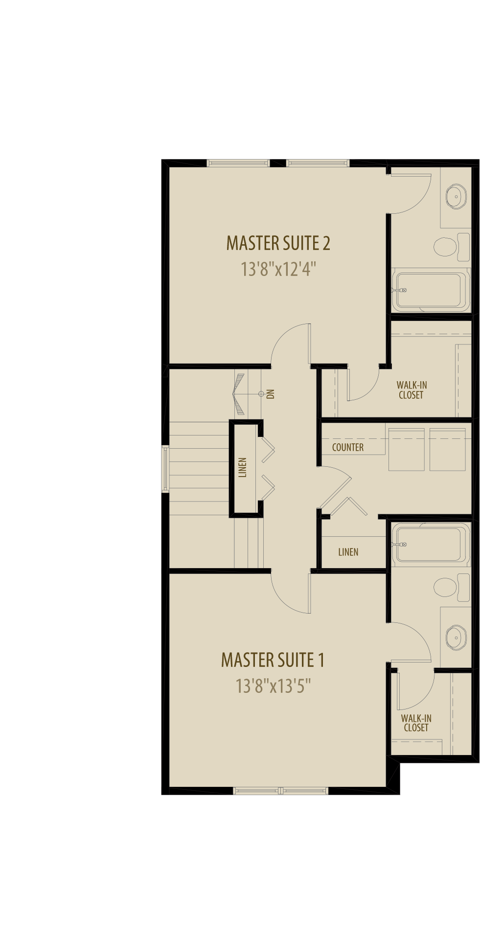 Dual Master Suites Deletes 9Sq Ft